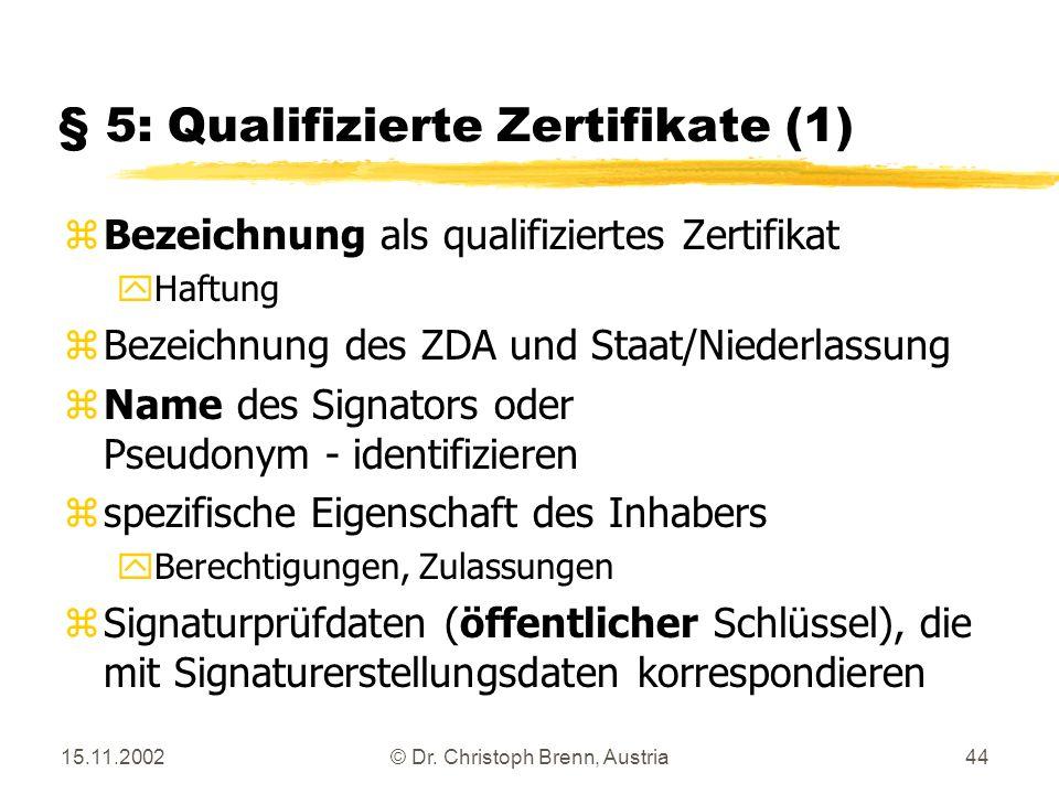 15.11.2002© Dr. Christoph Brenn, Austria44 § 5: Qualifizierte Zertifikate (1) zBezeichnung als qualifiziertes Zertifikat yHaftung zBezeichnung des ZDA