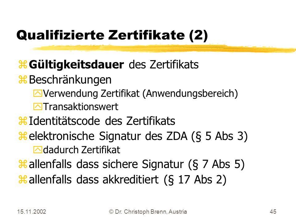 15.11.2002© Dr. Christoph Brenn, Austria45 Qualifizierte Zertifikate (2) zGültigkeitsdauer des Zertifikats zBeschränkungen yVerwendung Zertifikat (Anw