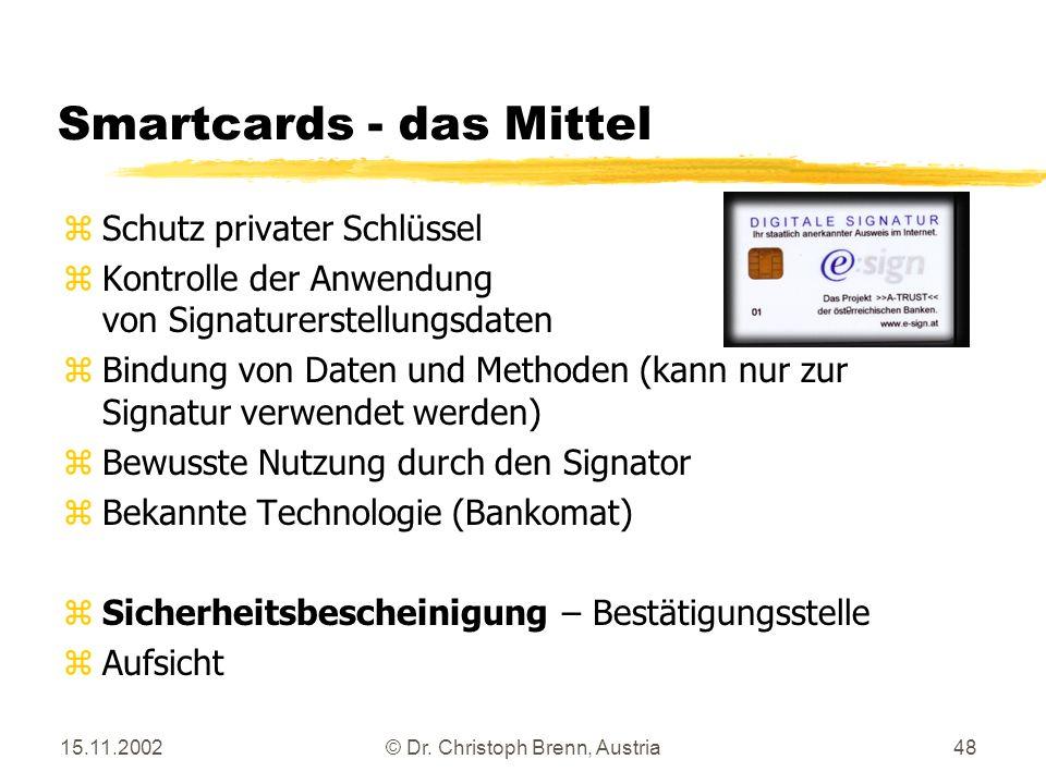 15.11.2002© Dr. Christoph Brenn, Austria48 Smartcards - das Mittel zSchutz privater Schlüssel zKontrolle der Anwendung von Signaturerstellungsdaten zB