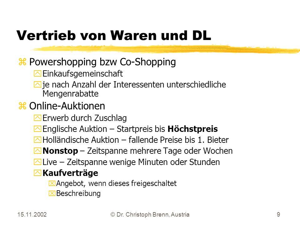 15.11.2002© Dr. Christoph Brenn, Austria9 Vertrieb von Waren und DL z Powershopping bzw Co-Shopping y Einkaufsgemeinschaft y je nach Anzahl der Intere