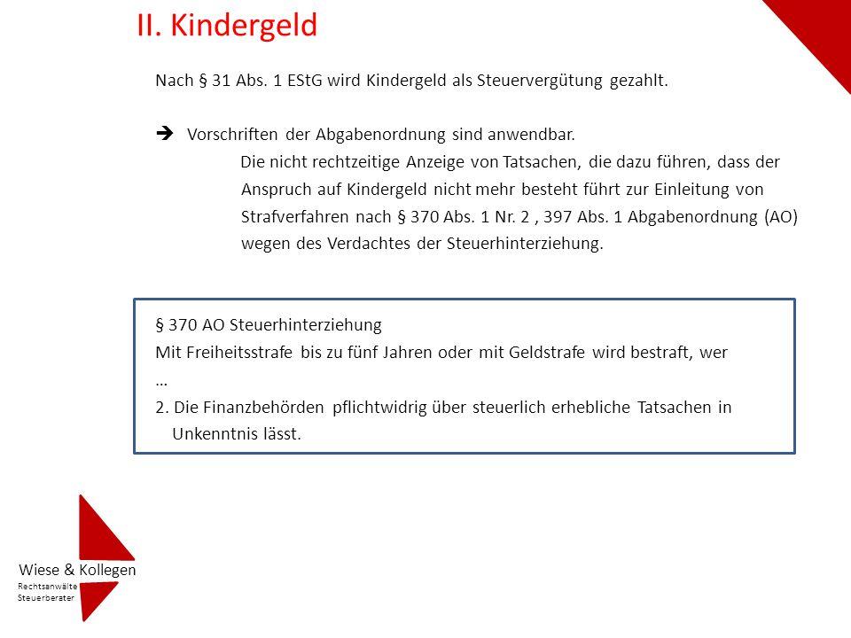 Stichworte zum Thema Kindergeld 1.