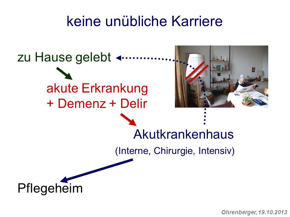 Ohrenberger, 19.10.2013 keine unübliche Karriere zu Hause gelebt akute Erkrankung + Demenz + Delir Akutkrankenhaus (Interne, Chirurgie, Intensiv) Pfle
