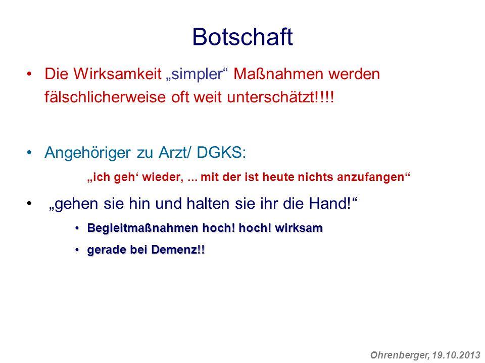 Ohrenberger, 19.10.2013 Botschaft Die Wirksamkeit simpler Maßnahmen werden fälschlicherweise oft weit unterschätzt!!!! Angehöriger zu Arzt/ DGKS: ich