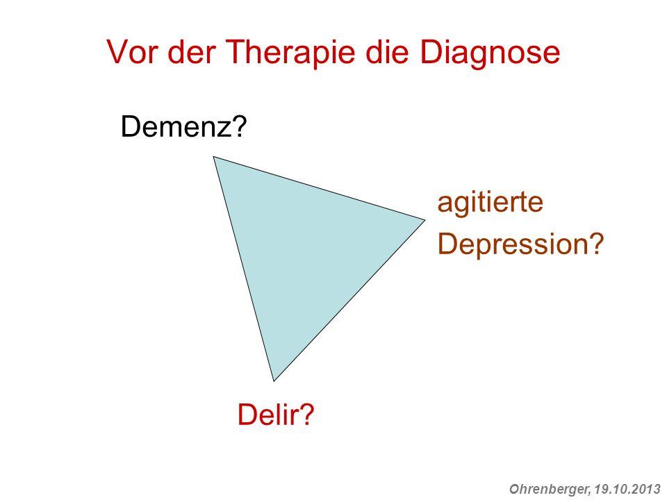 Ohrenberger, 19.10.2013 Vor der Therapie die Diagnose Demenz? agitierte Depression? Delir?