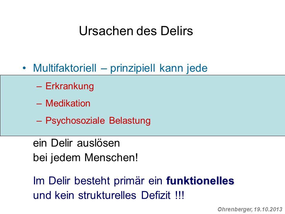 Ursachen des Delirs Multifaktoriell – prinzipiell kann jede –Erkrankung –Medikation –Psychosoziale Belastung ein Delir auslösen bei jedem Menschen! fu