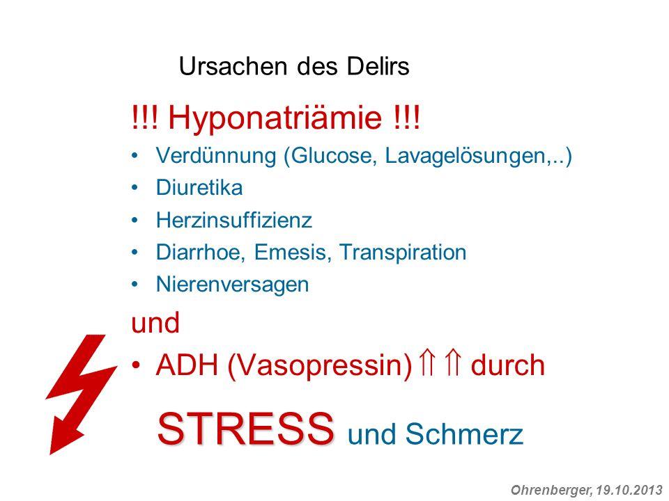 Ohrenberger, 19.10.2013 Ursachen des Delirs !!! Hyponatriämie !!! Verdünnung (Glucose, Lavagelösungen,..) Diuretika Herzinsuffizienz Diarrhoe, Emesis,