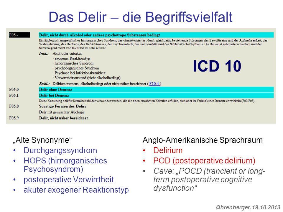 Ohrenberger, 19.10.2013 Alte Synonyme Durchgangssyndrom HOPS (hirnorganisches Psychosyndrom) postoperative Verwirrtheit akuter exogener Reaktionstyp A