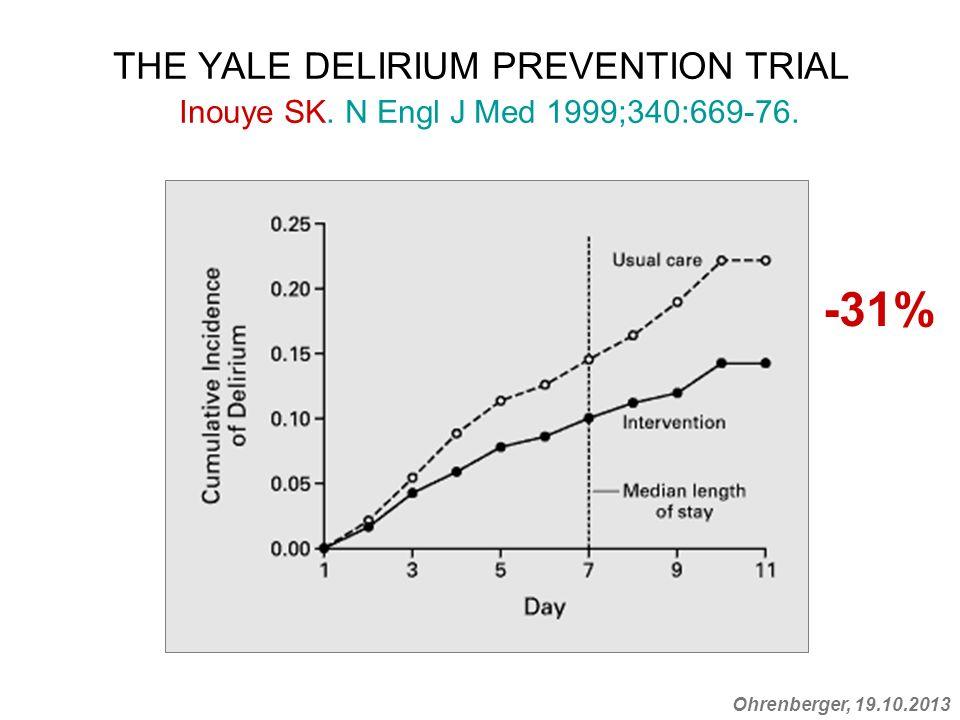 Ohrenberger, 19.10.2013 THE YALE DELIRIUM PREVENTION TRIAL Inouye SK. N Engl J Med 1999;340:669-76. -31%