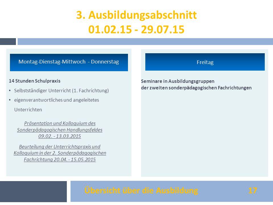 Übersicht über die Ausbildung 17 14 Stunden Schulpraxis Selbstständiger Unterricht (1. Fachrichtung) eigenverantwortliches und angeleitetes Unterricht