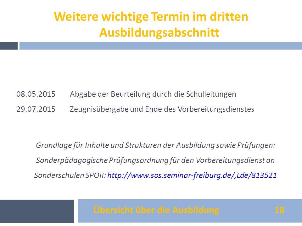 Übersicht über die Ausbildung 18 08.05.2015Abgabe der Beurteilung durch die Schulleitungen 29.07.2015Zeugnisübergabe und Ende des Vorbereitungsdienste