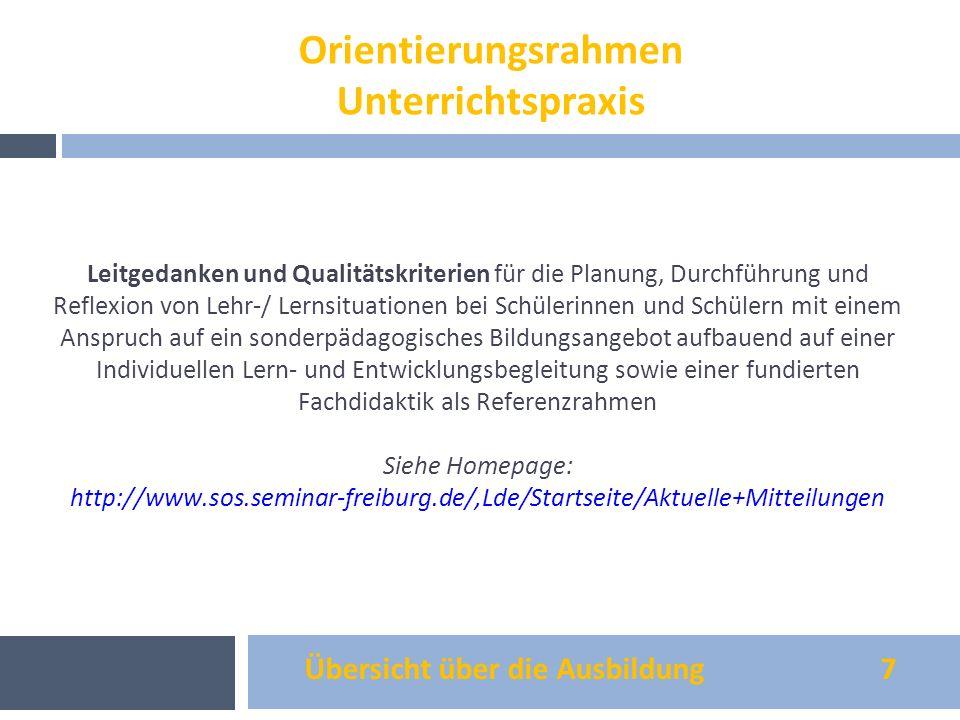 Übersicht über die Ausbildung 7 Orientierungsrahmen Unterrichtspraxis Leitgedanken und Qualitätskriterien für die Planung, Durchführung und Reflexion