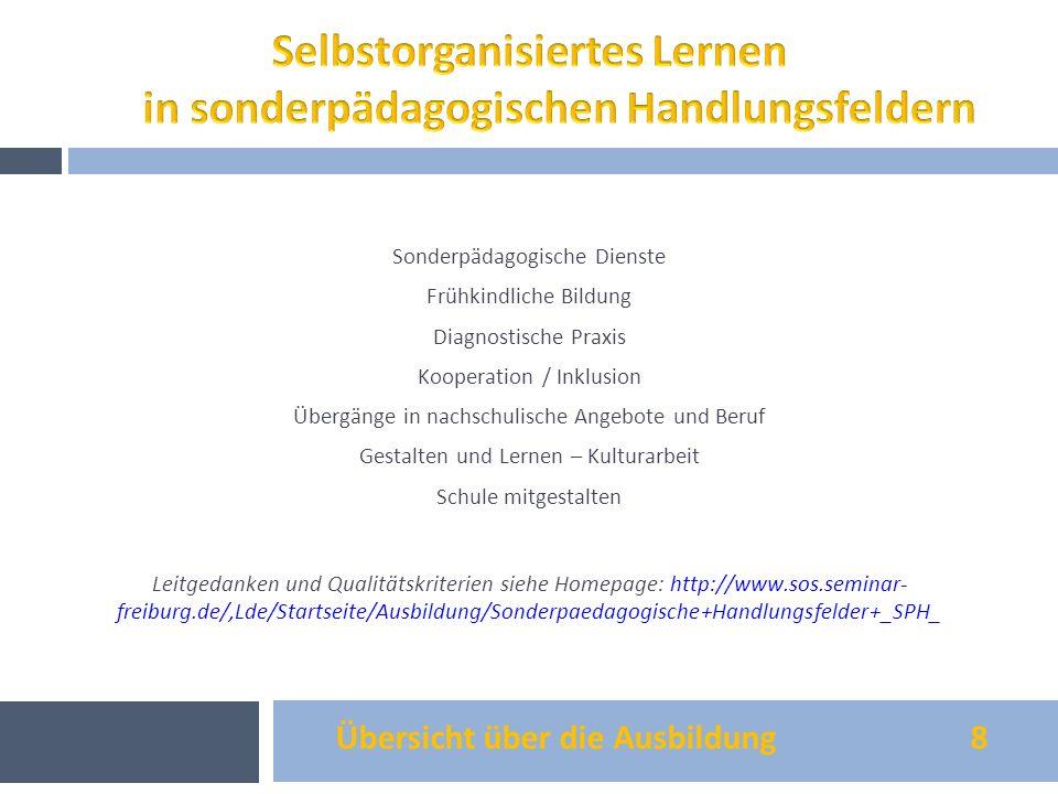 Übersicht über die Ausbildung 8 Sonderpädagogische Dienste Frühkindliche Bildung Diagnostische Praxis Kooperation / Inklusion Übergänge in nachschulis
