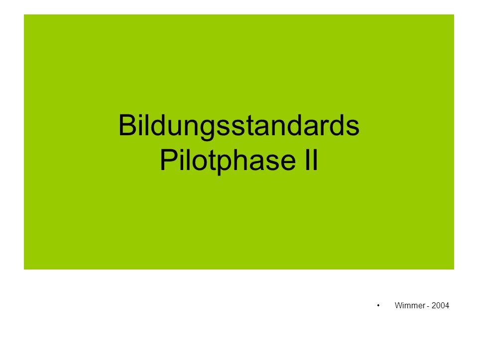 Bildungsstandards Pilotphase II Wimmer - 2004