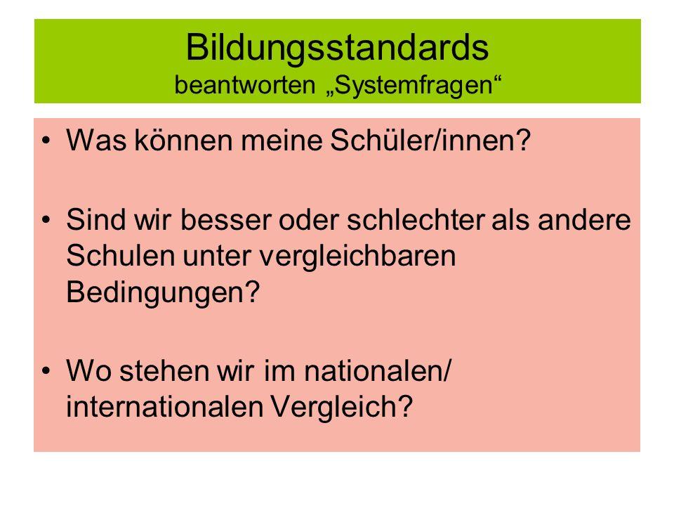 Bildungsstandards beantworten Systemfragen Was können meine Schüler/innen.