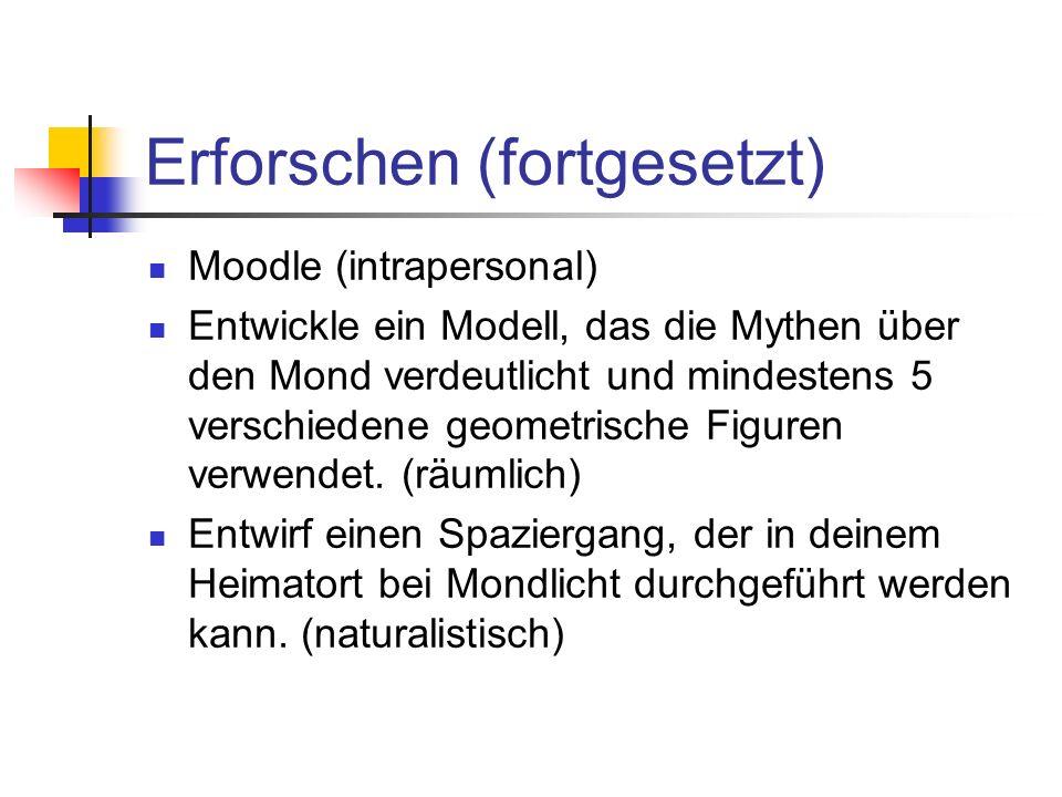 Erforschen (fortgesetzt) Moodle (intrapersonal) Entwickle ein Modell, das die Mythen über den Mond verdeutlicht und mindestens 5 verschiedene geometri