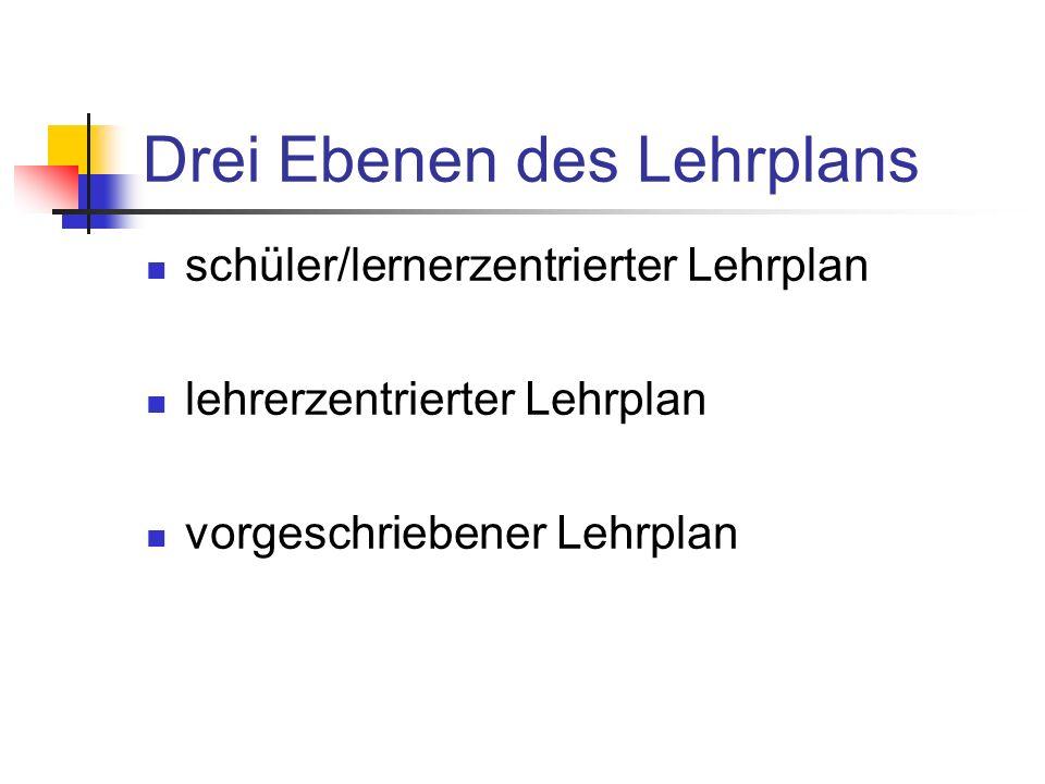 Drei Ebenen des Lehrplans schüler/lernerzentrierter Lehrplan lehrerzentrierter Lehrplan vorgeschriebener Lehrplan