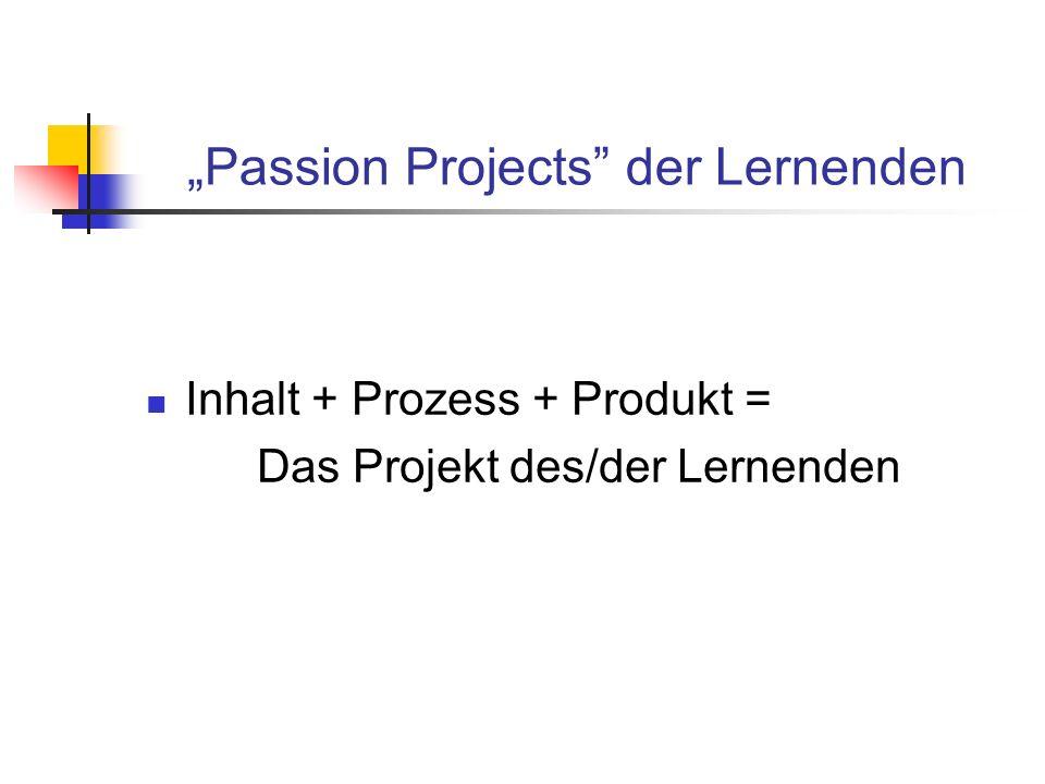 Passion Projects der Lernenden Inhalt + Prozess + Produkt = Das Projekt des/der Lernenden