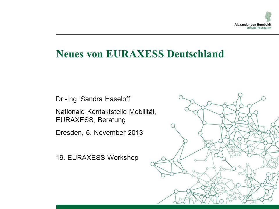 Neues von EURAXESS Deutschland Dr.-Ing. Sandra Haseloff Nationale Kontaktstelle Mobilität, EURAXESS, Beratung Dresden, 6. November 2013 19. EURAXESS W