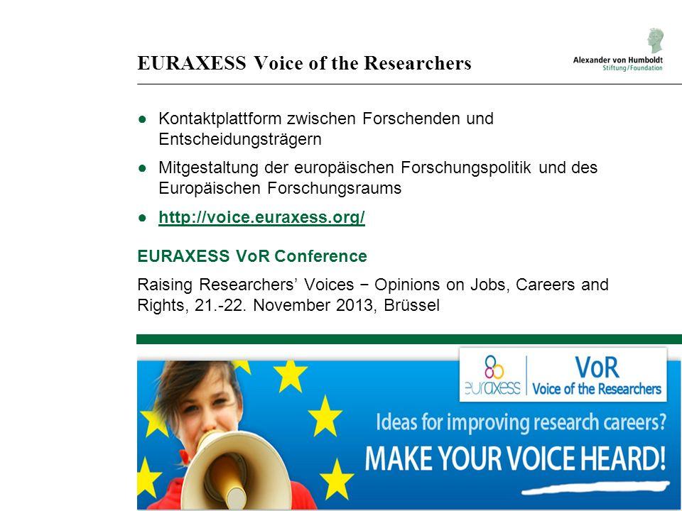 EURAXESS Voice of the Researchers Kontaktplattform zwischen Forschenden und Entscheidungsträgern Mitgestaltung der europäischen Forschungspolitik und