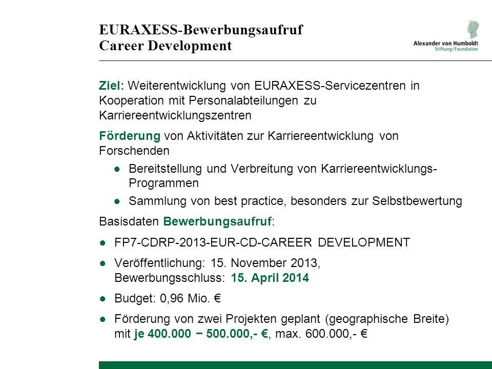 EURAXESS-Bewerbungsaufruf Career Development Ziel: Weiterentwicklung von EURAXESS-Servicezentren in Kooperation mit Personalabteilungen zu Karriereent