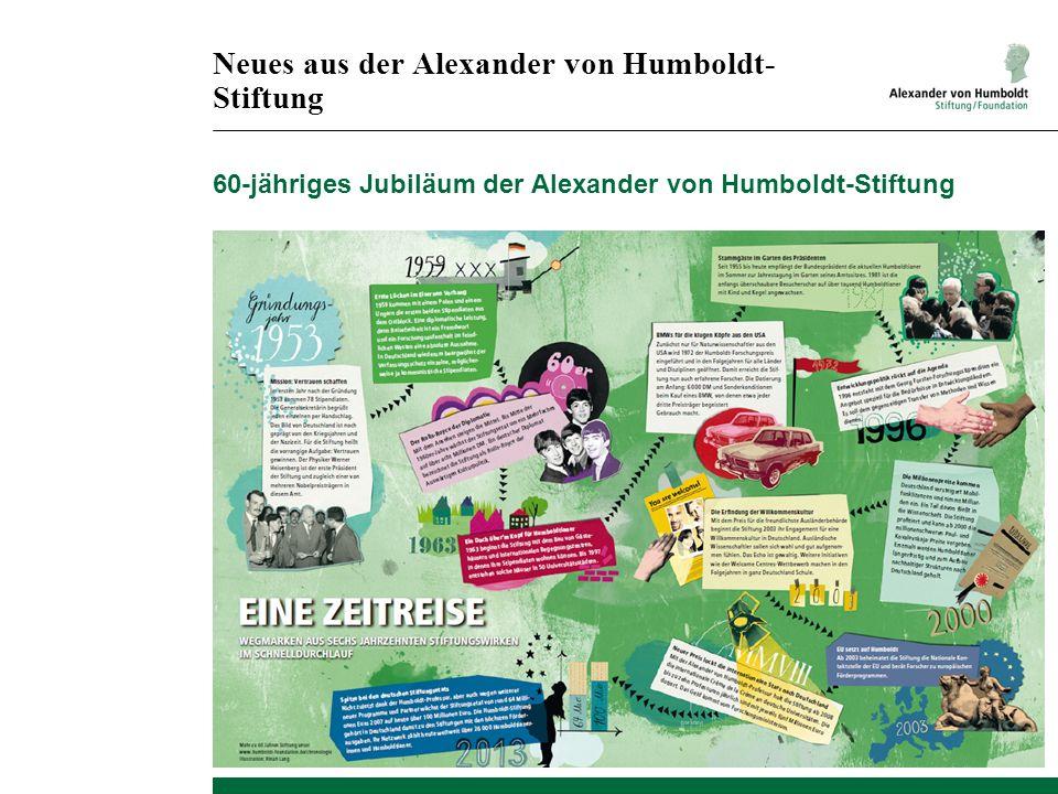 Neues aus der Alexander von Humboldt- Stiftung 60-jähriges Jubiläum der Alexander von Humboldt-Stiftung
