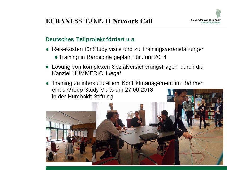 EURAXESS T.O.P. II Network Call Deutsches Teilprojekt fördert u.a. Reisekosten für Study visits und zu Trainingsveranstaltungen Training in Barcelona