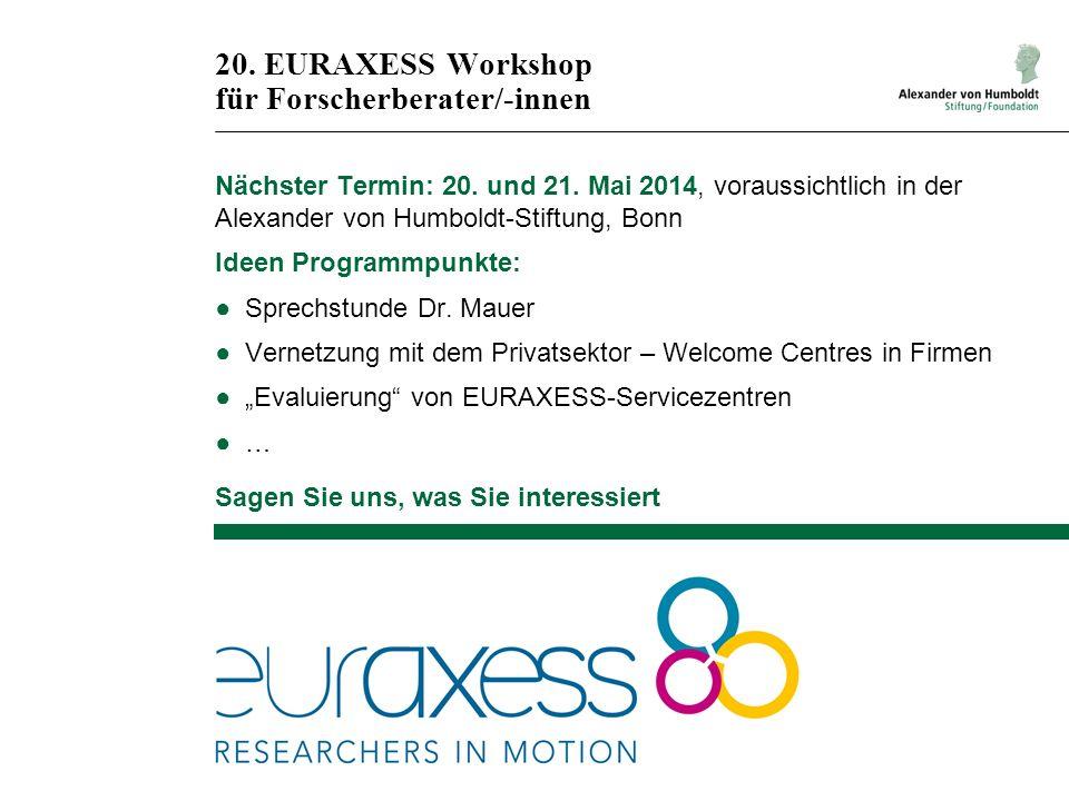 20. EURAXESS Workshop für Forscherberater/-innen Nächster Termin: 20. und 21. Mai 2014, voraussichtlich in der Alexander von Humboldt-Stiftung, Bonn I