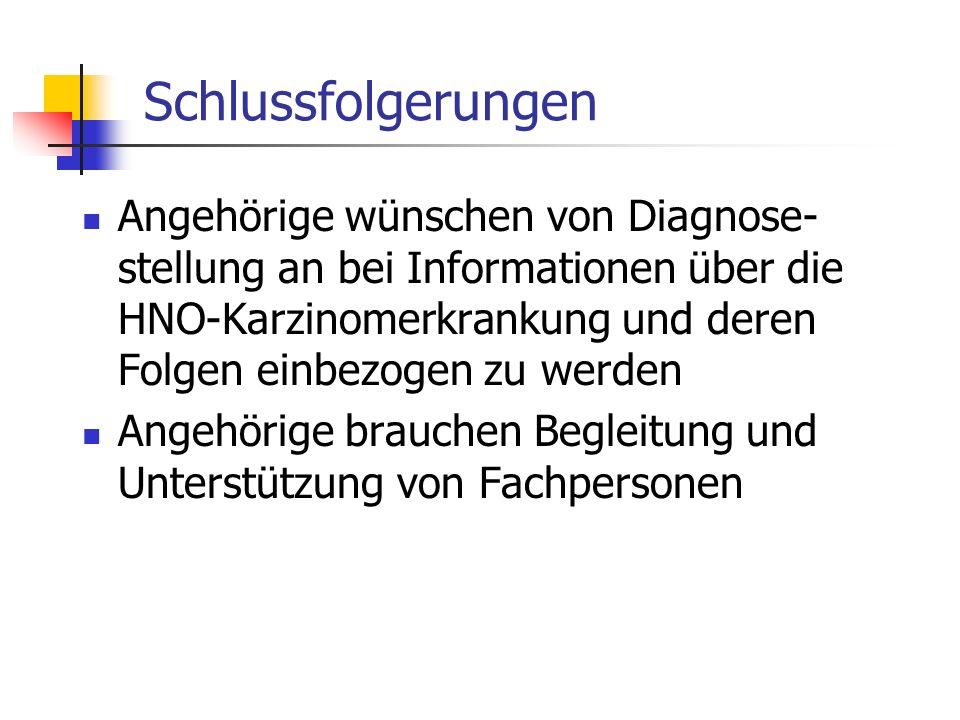 Schlussfolgerungen Angehörige wünschen von Diagnose- stellung an bei Informationen über die HNO-Karzinomerkrankung und deren Folgen einbezogen zu werd