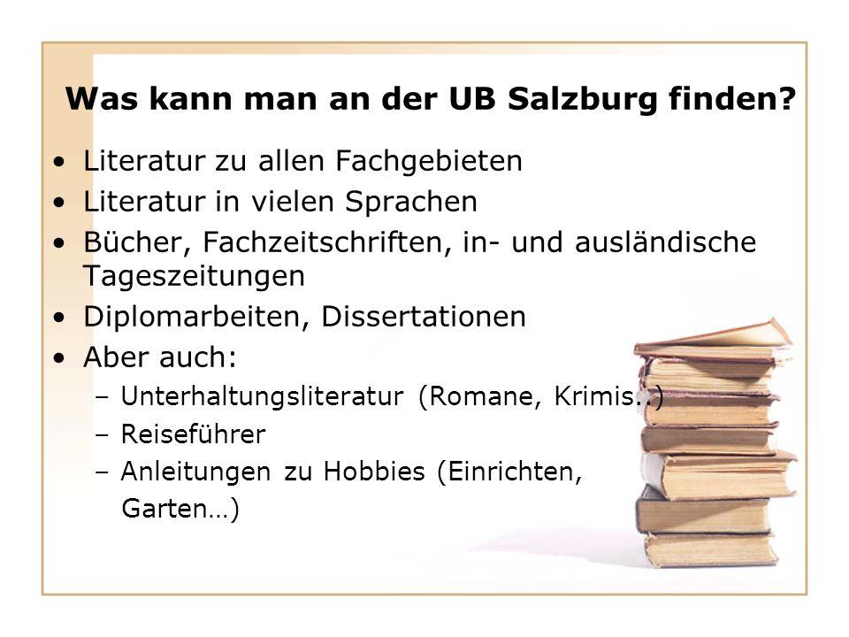 Was kann man an der UB Salzburg finden.