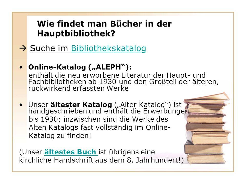 Wie findet man Bücher in der Hauptbibliothek.
