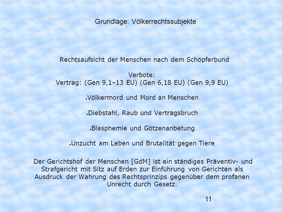 11 Grundlage: Völkerrechtssubjekte Rechtsaufsicht der Menschen nach dem Schöpferbund Verbote: Vertrag: (Gen 9,1–13 EU) (Gen 6,18 EU) (Gen 9,9 EU) Völk
