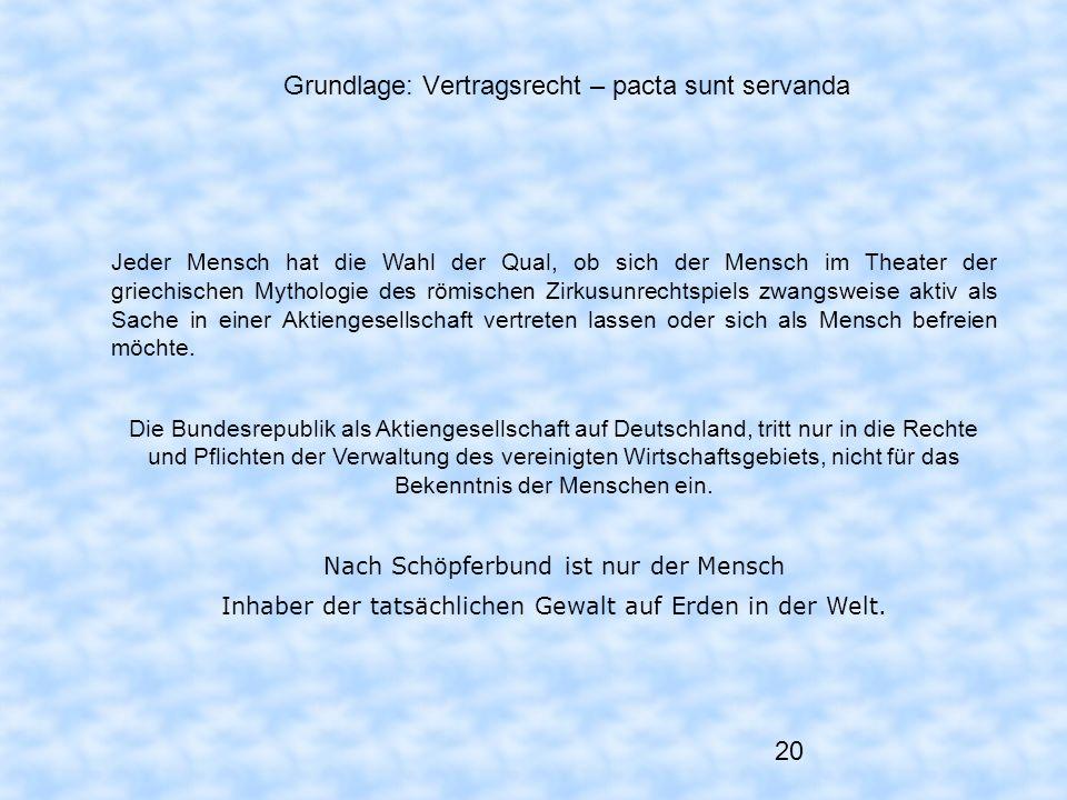 20 Grundlage: Vertragsrecht – pacta sunt servanda Jeder Mensch hat die Wahl der Qual, ob sich der Mensch im Theater der griechischen Mythologie des rö