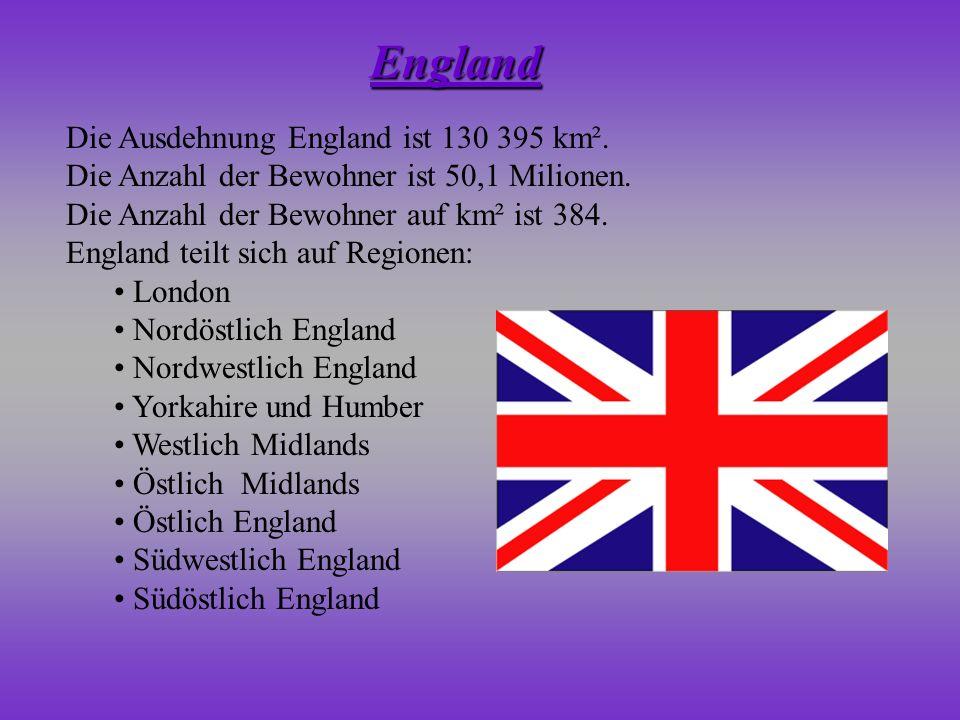 Die Ausdehnung England ist 130 395 km². Die Anzahl der Bewohner ist 50,1 Milionen. Die Anzahl der Bewohner auf km² ist 384. England teilt sich auf Reg