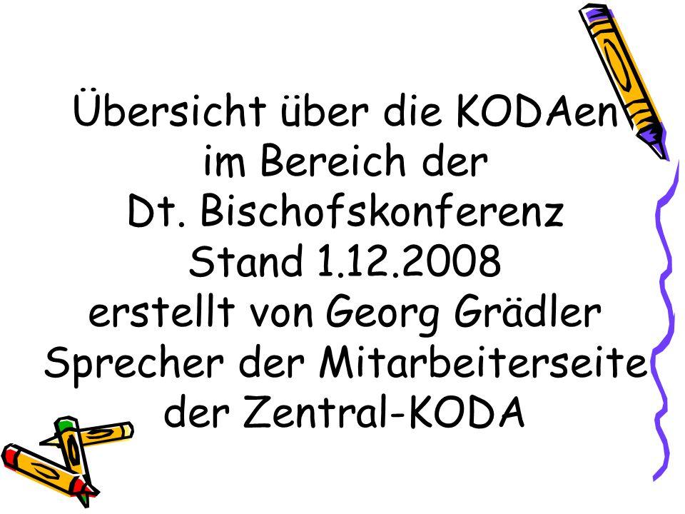Übersicht über die KODAen im Bereich der Dt. Bischofskonferenz Stand 1.12.2008 erstellt von Georg Grädler Sprecher der Mitarbeiterseite der Zentral-KO