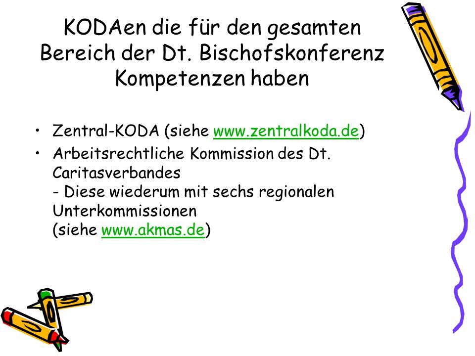 KODAen die für den gesamten Bereich der Dt. Bischofskonferenz Kompetenzen haben Zentral-KODA (siehe www.zentralkoda.de)www.zentralkoda.de Arbeitsrecht