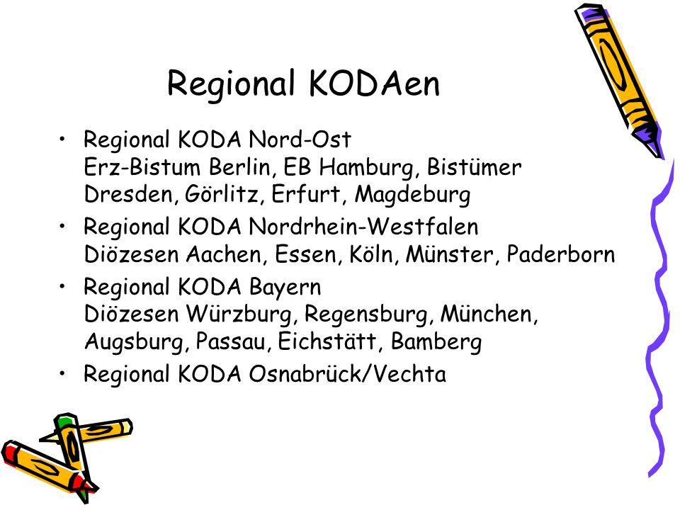 Regional KODAen Regional KODA Nord-Ost Erz-Bistum Berlin, EB Hamburg, Bistümer Dresden, Görlitz, Erfurt, Magdeburg Regional KODA Nordrhein-Westfalen D