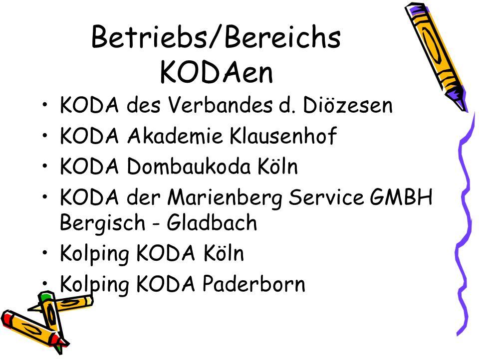 Betriebs/Bereichs KODAen KODA des Verbandes d. Diözesen KODA Akademie Klausenhof KODA Dombaukoda Köln KODA der Marienberg Service GMBH Bergisch - Glad