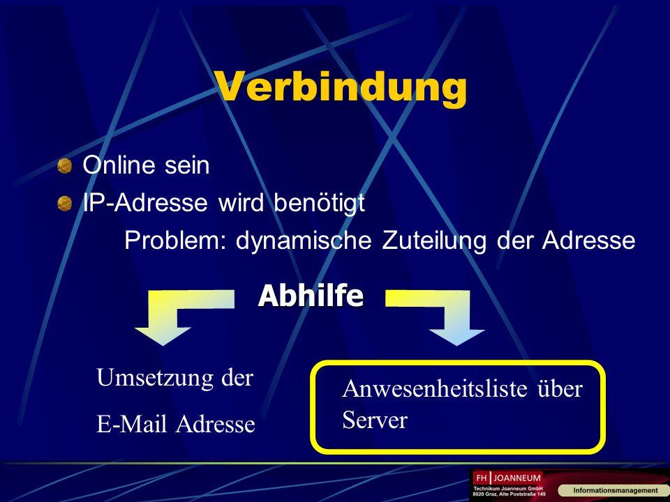 Verbindung Online sein IP-Adresse wird benötigt Problem: dynamische Zuteilung der Adresse Abhilfe Umsetzung der E-Mail Adresse Anwesenheitsliste über