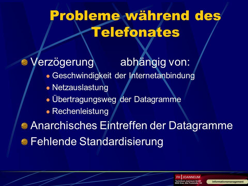 Probleme während des Telefonates Verzögerung abhängig von: Geschwindigkeit der Internetanbindung Netzauslastung Übertragungsweg der Datagramme Rechenl
