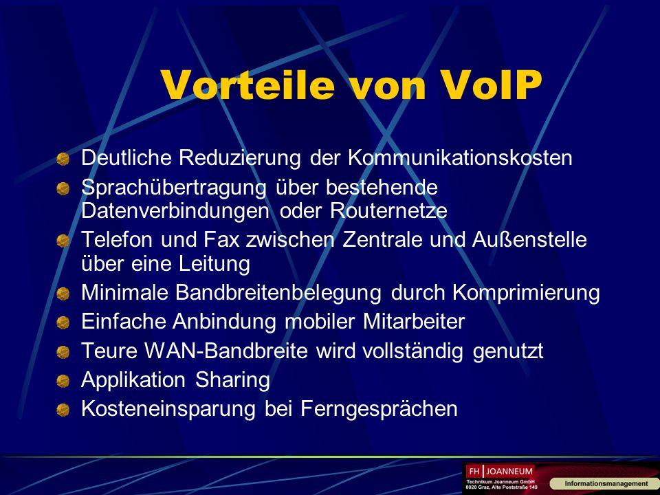 Vorteile von VoIP Deutliche Reduzierung der Kommunikationskosten Sprachübertragung über bestehende Datenverbindungen oder Routernetze Telefon und Fax