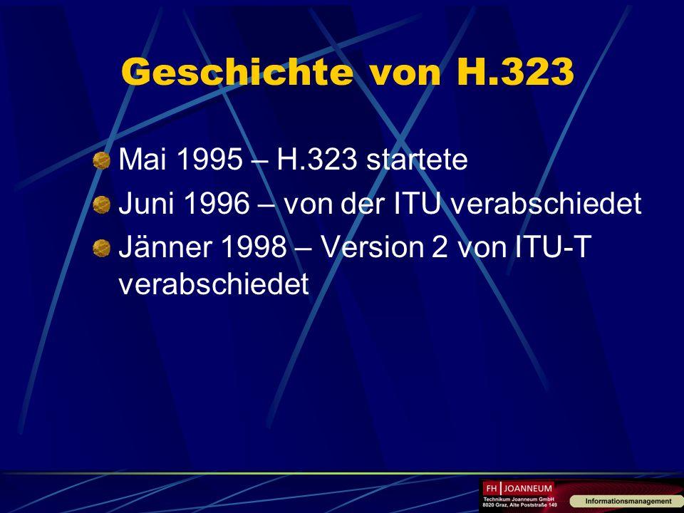 Geschichte von H.323 Mai 1995 – H.323 startete Juni 1996 – von der ITU verabschiedet Jänner 1998 – Version 2 von ITU-T verabschiedet