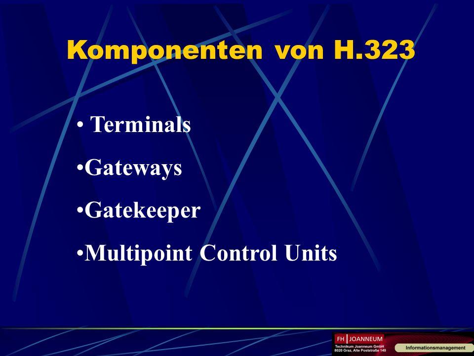 Komponenten von H.323 Terminals Gateways Gatekeeper Multipoint Control Units
