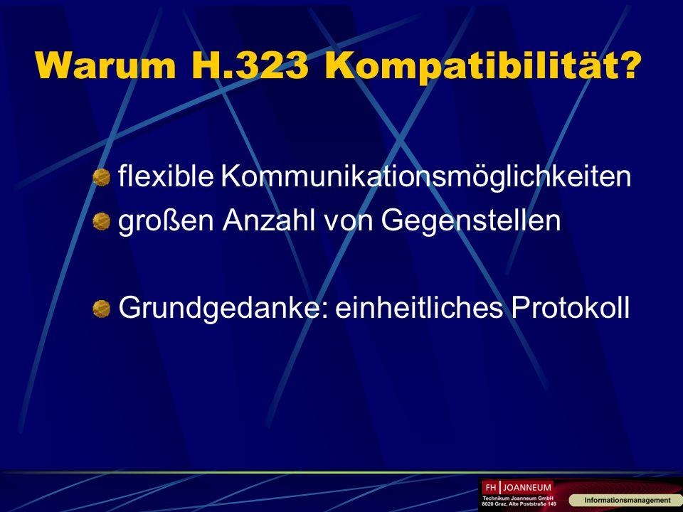 Warum H.323 Kompatibilität? flexible Kommunikationsmöglichkeiten großen Anzahl von Gegenstellen Grundgedanke: einheitliches Protokoll
