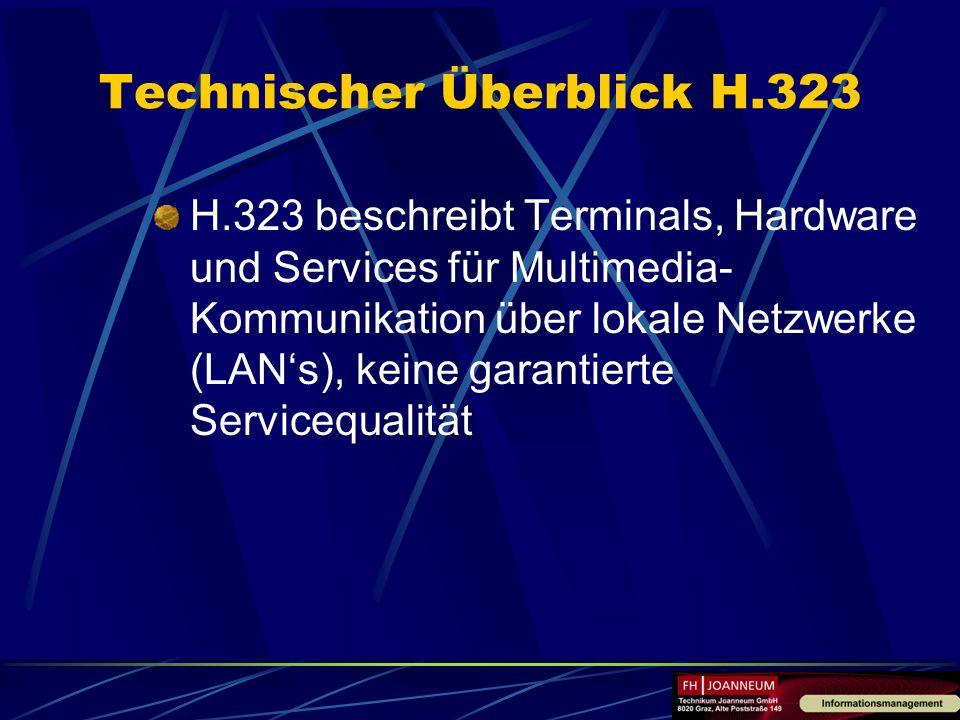 Technischer Überblick H.323 H.323 beschreibt Terminals, Hardware und Services für Multimedia- Kommunikation über lokale Netzwerke (LANs), keine garant