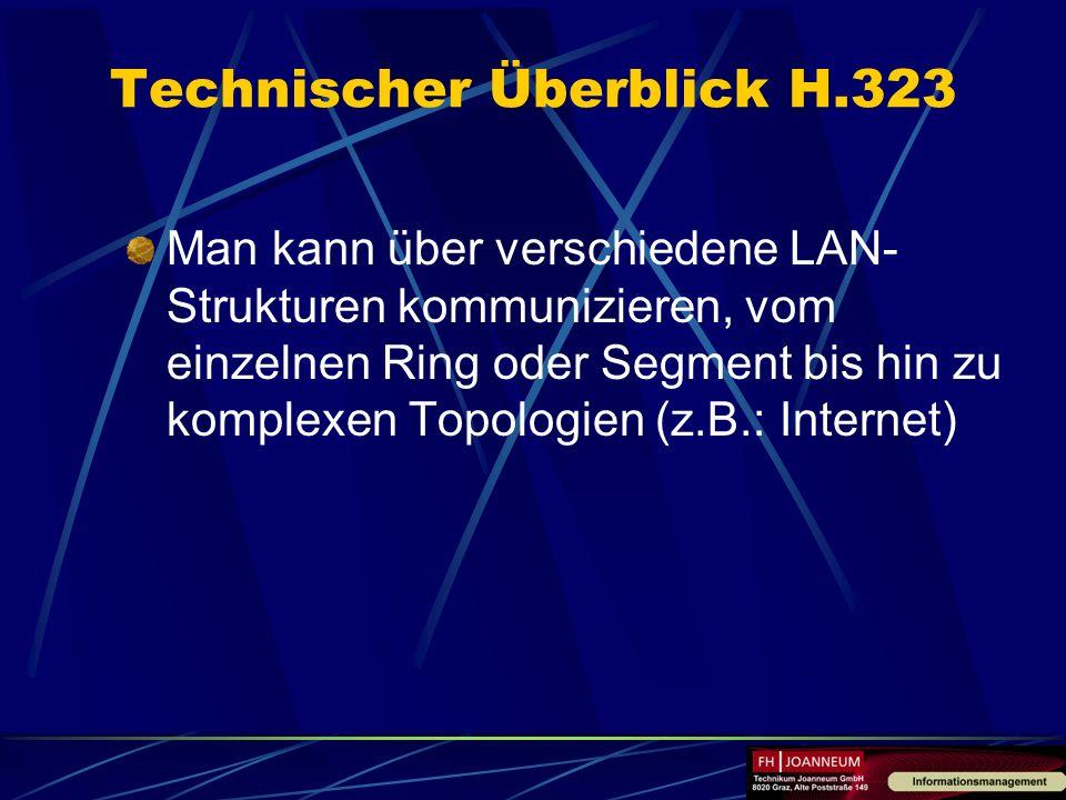 Man kann über verschiedene LAN- Strukturen kommunizieren, vom einzelnen Ring oder Segment bis hin zu komplexen Topologien (z.B.: Internet) Technischer