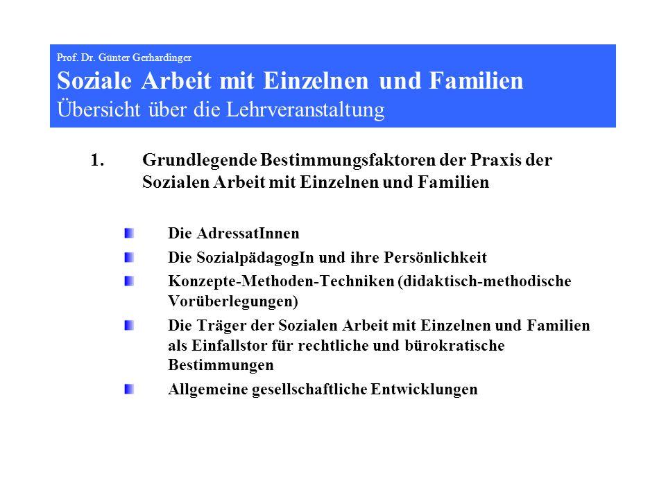Prof. Dr. Günter Gerhardinger Soziale Arbeit mit Einzelnen und Familien Übersicht über die Lehrveranstaltung 1.Grundlegende Bestimmungsfaktoren der Pr