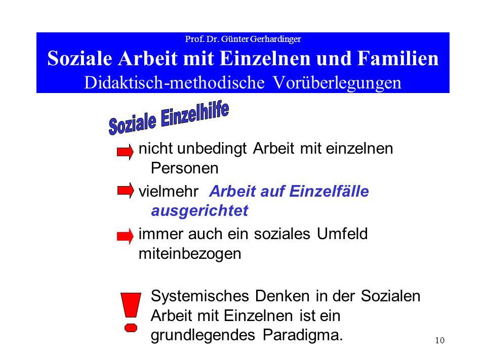 10 Prof. Dr. Günter Gerhardinger Soziale Arbeit mit Einzelnen und Familien Didaktisch-methodische Vorüberlegungen nicht unbedingt Arbeit mit einzelnen
