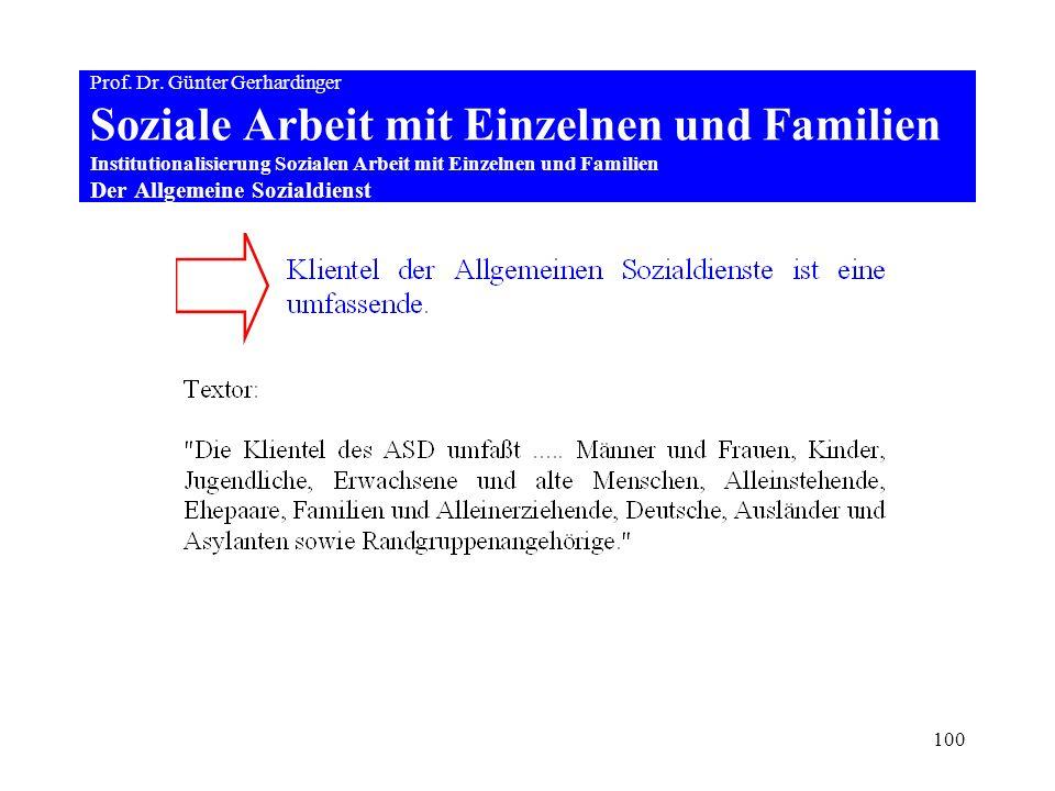 100 Prof. Dr. Günter Gerhardinger Soziale Arbeit mit Einzelnen und Familien Institutionalisierung Sozialen Arbeit mit Einzelnen und Familien Der Allge