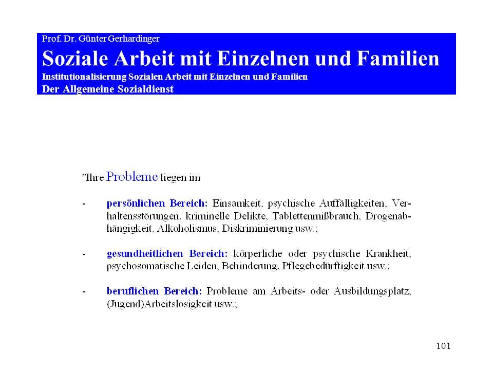 101 Prof. Dr. Günter Gerhardinger Soziale Arbeit mit Einzelnen und Familien Institutionalisierung Sozialen Arbeit mit Einzelnen und Familien Der Allge