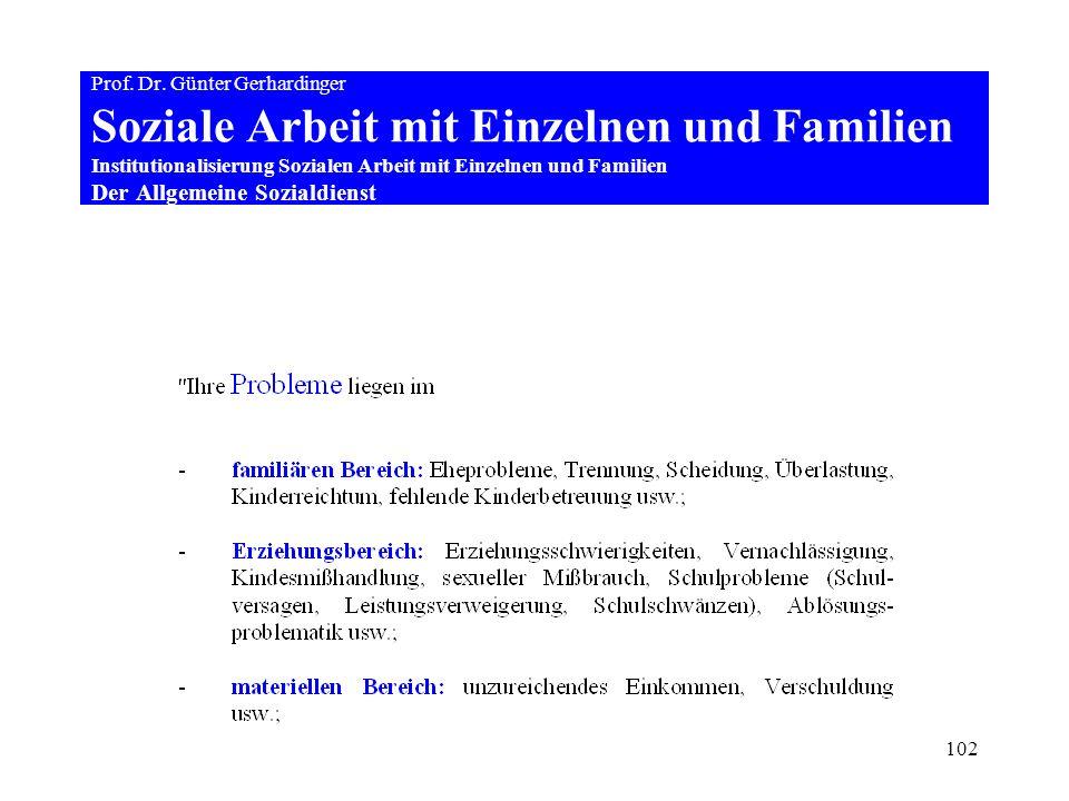 102 Prof. Dr. Günter Gerhardinger Soziale Arbeit mit Einzelnen und Familien Institutionalisierung Sozialen Arbeit mit Einzelnen und Familien Der Allge